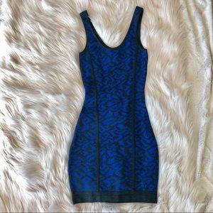 Marciano spandex bodycon dress blue